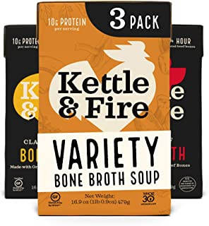 product image for Bone Broth Variety Pack, Mushroom Chicken, Beef, and Chicken by Kettle and Fire, Keto Diet food, Paleo Friendly, Whole 30 Approved, Gluten Free, with Collagen, 10g of Protein (Pack of 3)