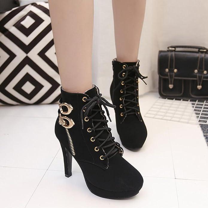 Zapatos de mujer Botas de mujer sexy Botines de mujer Zapatos de mujer tacones altos Plataforma Thin Heel Con cordones Corto Botas LMMVP: Amazon.es: Zapatos ...