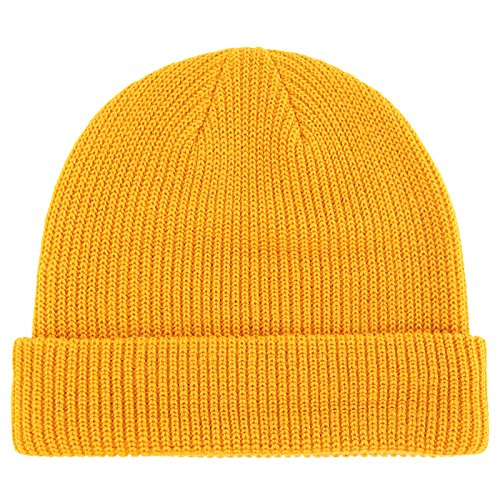 Connectyle Classic Men's Warm Winter Hats Acrylic Knit Cuff Beanie Cap Daily Beanie Hat (Mustard - Ribbed Striped Cap