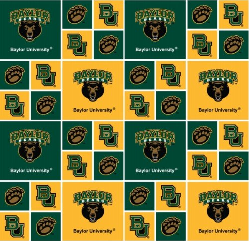 College Baylor Blocks Bears Cotton Fabric - Sold By the Yard