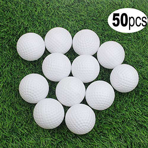 Hollow Practice Balls - Kofull Golf Practice Ball, Hollow Golf Plastic Ball for Indoor Training -Pack of 50pcs (4 Colors Available)(White) ...