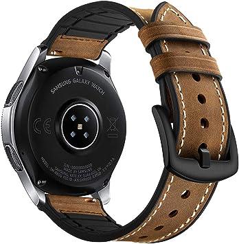 Myada para 22mm Correas Galaxy Watch 46mm Piel, Correa Samsung Gear S3 Frontier Cuero, Correas Samsung Gear S3 Classic Reemplazo de Pulseras de Repuesto de Hebilla Acero Inoxidable Strap: Amazon.es: Electrónica