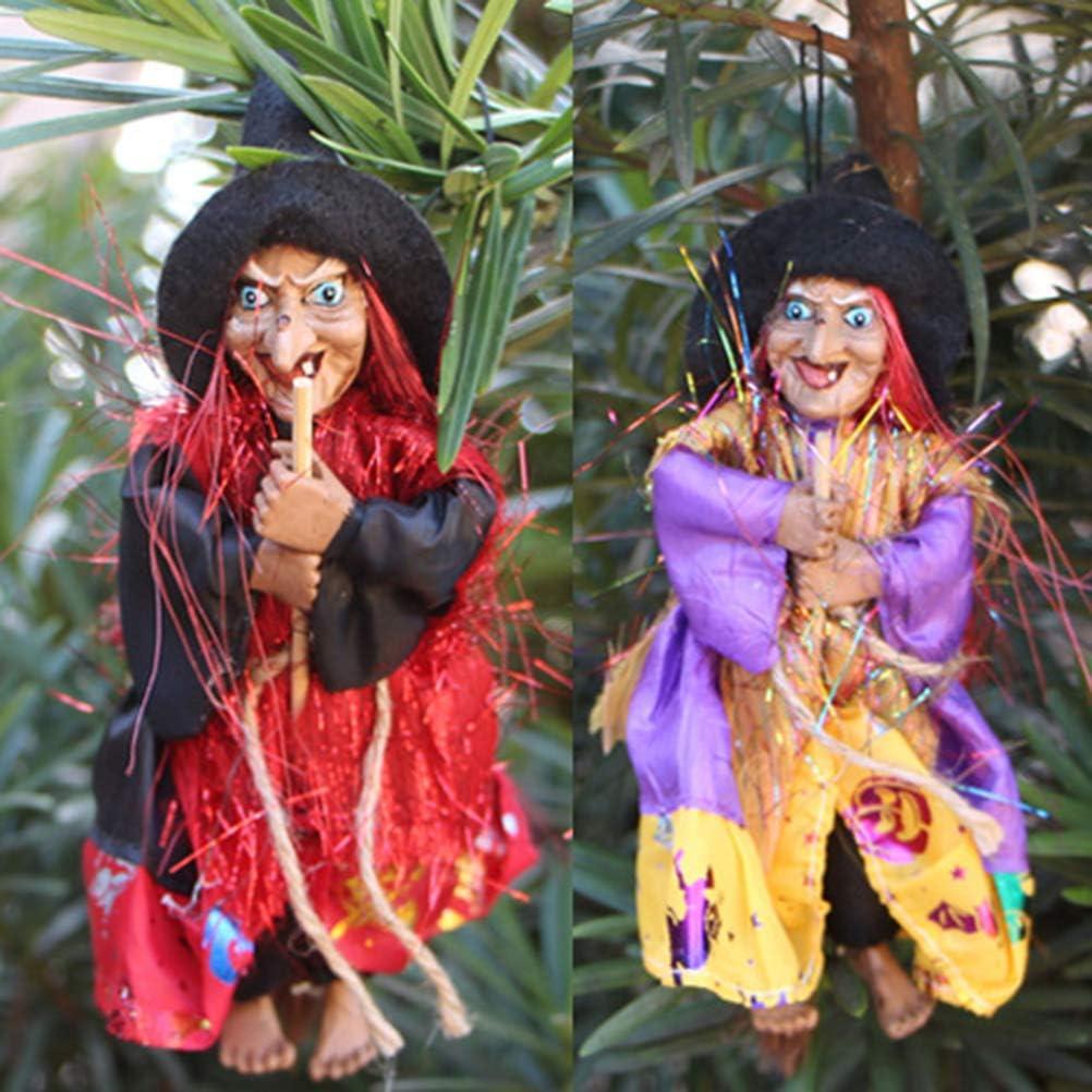 Horror decorazione per feste in giardino e vacanze Strega colore casuale decorazione per feste di Halloween Statuetta da strega horror da appendere da appendere per Halloween