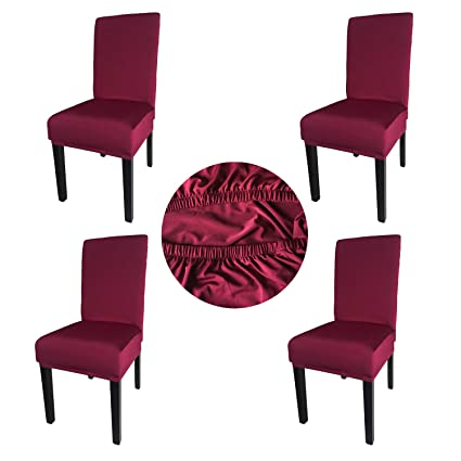 Astonishing Gold Fortune Spandex Fabric Stretch Removable Washable Dining Room Chair Cover Protector Seat Slipcovers Set Of 4 Bordeaux Bralicious Painted Fabric Chair Ideas Braliciousco