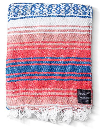 Mexican Blanket Yoga Serape Blankets - Mexican Blanket - Yoga Blanket - Authentic Baja Blanket - Yoga Blankets Mexican Perfect as Beach Blanket, Camping Blanket (Coral) ()