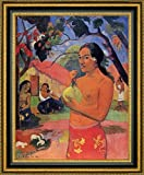 """This 12"""" x 15"""" framed premium canvas print of Ea Haere la Oe also known as Where are You Going by Paul Gauguin is meticulously created on artist grade canvas utilizing ultra-precision print technology and fade-resistant archival inks.Every detail of..."""