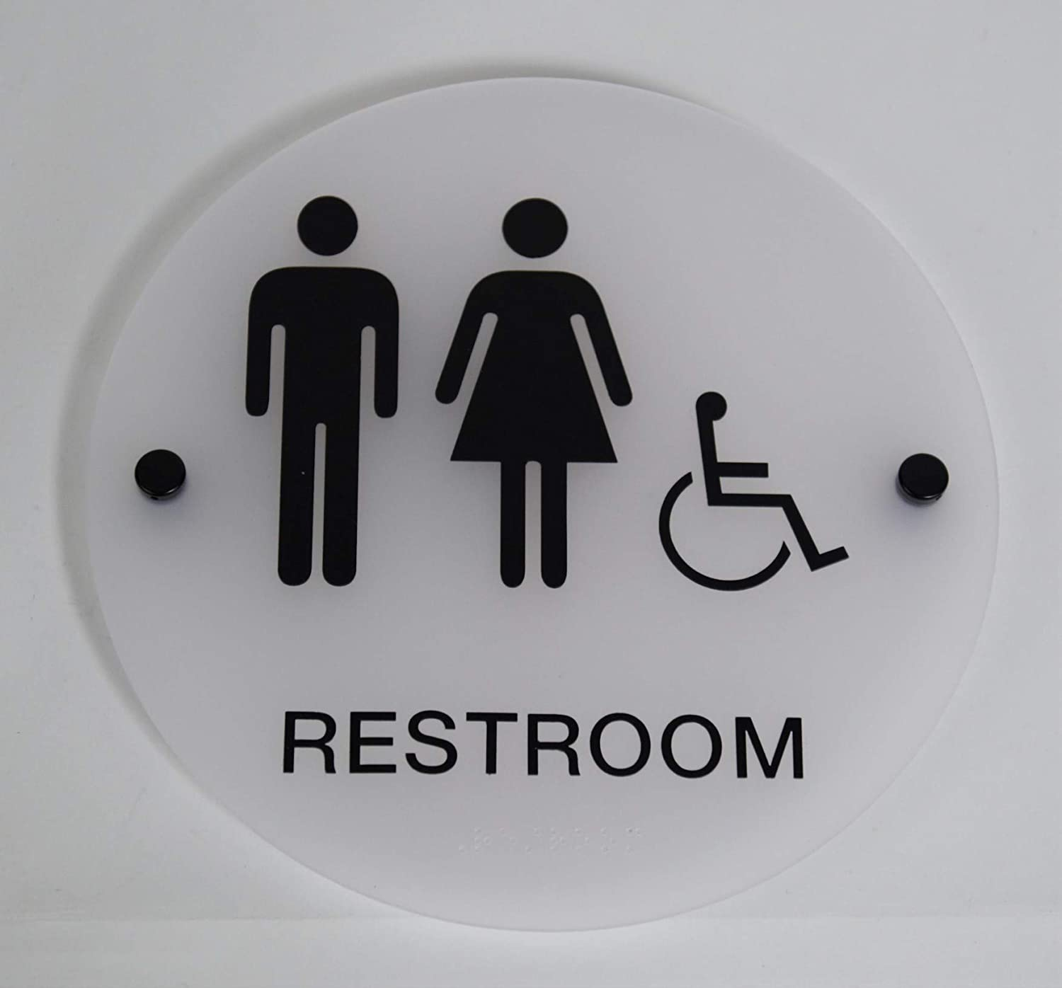 """Designer ADA Gender Neutral Unisex Restroom Sign with Braille and Stand Off Mounts, 9"""" Round Frosted"""