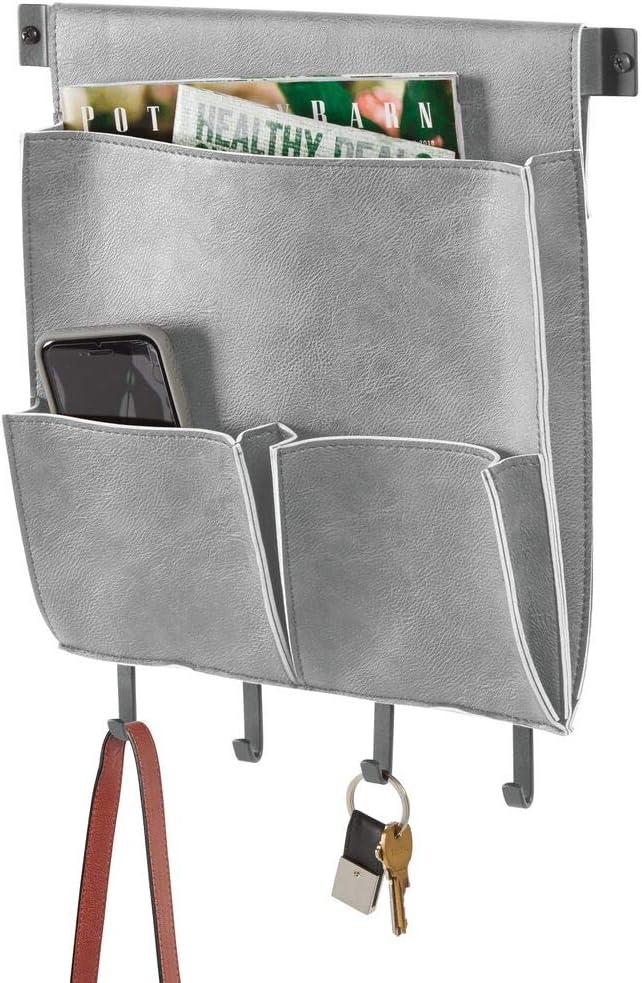 "mDesign Decorative Wall Mount Soft Leather Hanging Storage Organizer Mail Sorter, Letter Holder, Key Rack for Entryway, Bedroom, Home Office, Dorm Room - 3 Pockets, 4 Hooks, 12.5"" Wide - Graphite Gray"