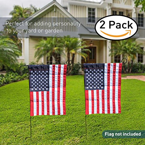 EasyGo Garden & Yard Flag Stand - Holds flags up to 12'' in width – Steel Black Garden Flag Pole Holder without Flag - 3 Pieces for Easy Storage by EasyGoProducts (Image #1)