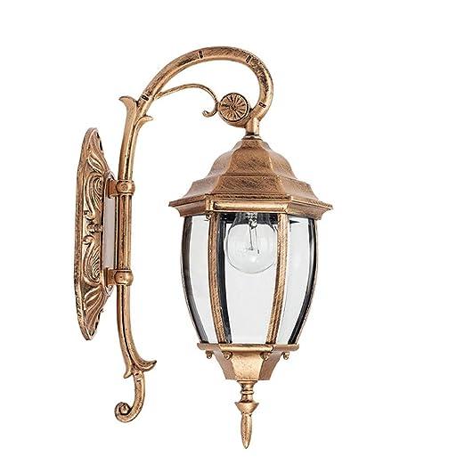 KMYX Lámpara de Pared Exterior de Bronce Antiguo Linterna de Pared ...