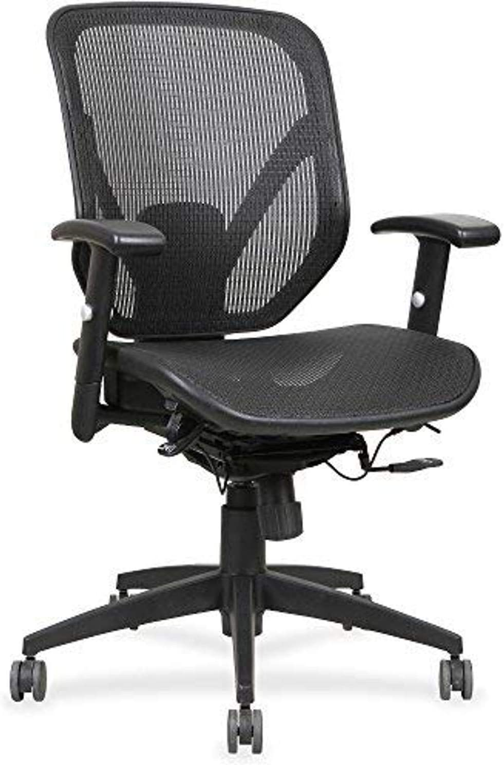 Lorell Mesh Seat/Back Mid-Back Chair, Black