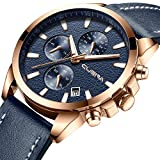 Elegant and Stylish Multifunction Watches Men's Leather Strap Wrist Watch with Date Display
