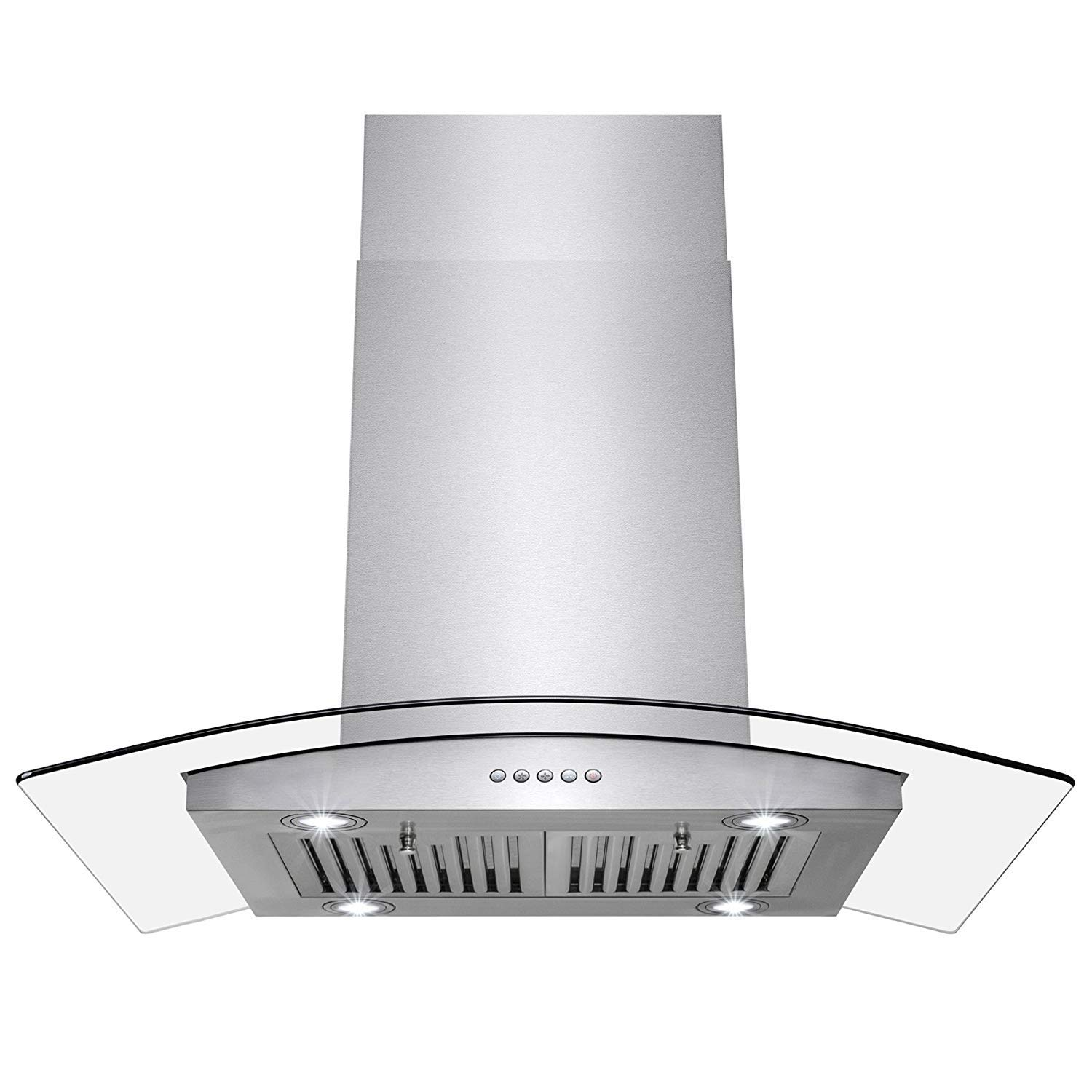 """Perfetto Kitchen and Bath 36"""" Island Mount Stainless Steel and Tempered Glass Made Kitchen Cooking Vent Range Hood Fan w/Classical Push Button Control"""