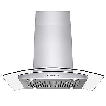 Perfetto - Ventilador de Cocina y baño de Acero Inoxidable y Vidrio Templado de 36 Pulgadas con botón de Control: Amazon.es: Hogar
