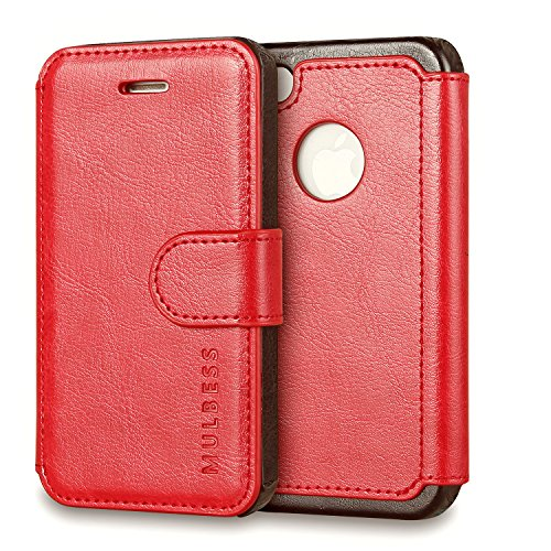 t,Mulbess [Layered Dandy][Vintage Series][Wine Red] - [Ultra Slim][Wallet Case] - Leather Flip Cover With Credit Card Slot for Apple iPhone 4s / iPhone 4 ()