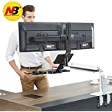 North Bayou Dual Monitor Sit Stand Desk Mount Height Adjustable Standing Desk Workstation for Dual Screens up to 24''