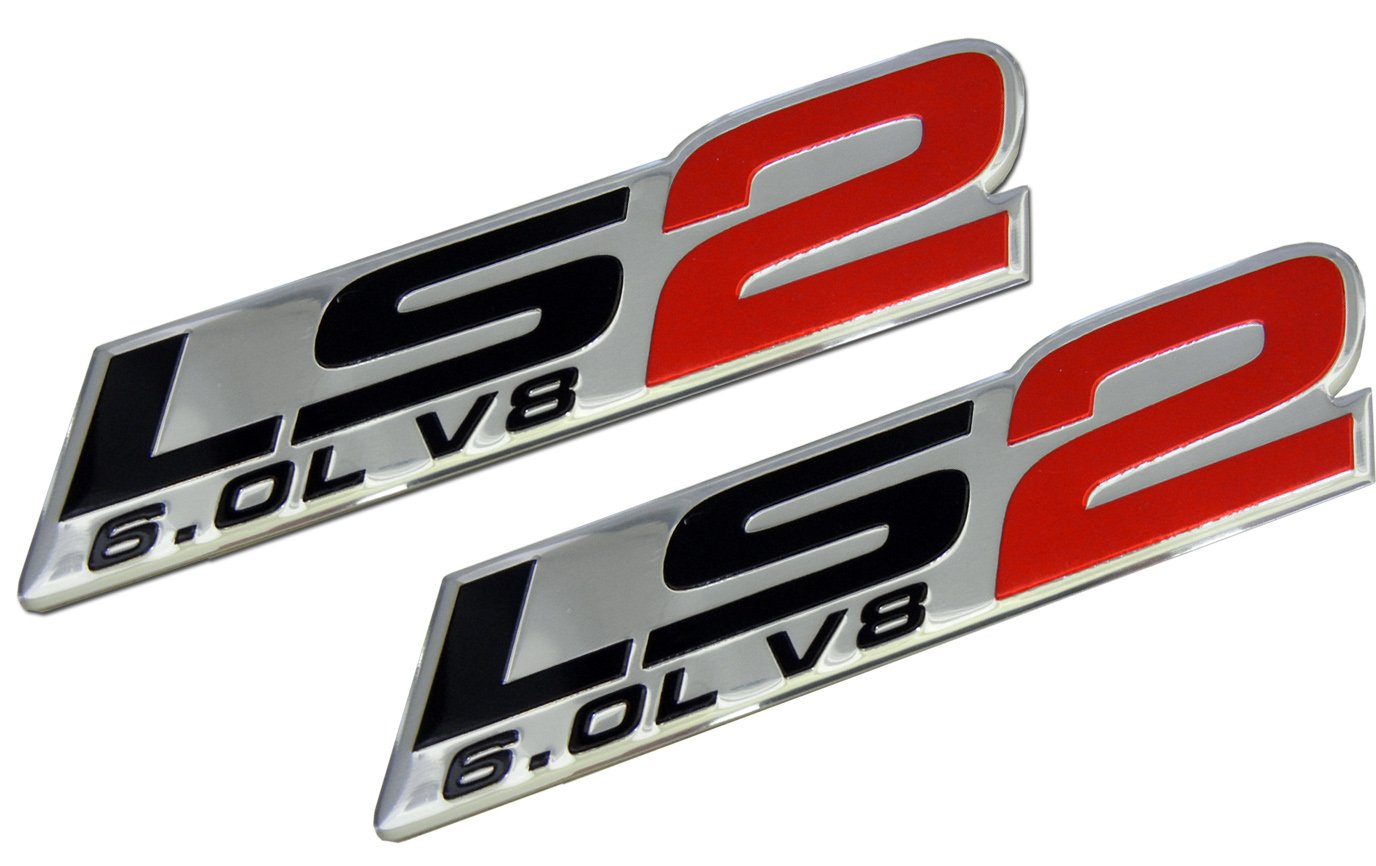 Erpart ls2 6 0l v8 red engine emblems badges highly polished aluminum chrome silver compatible with chevy corvette holden hsv pontiac saab cadillac pack of