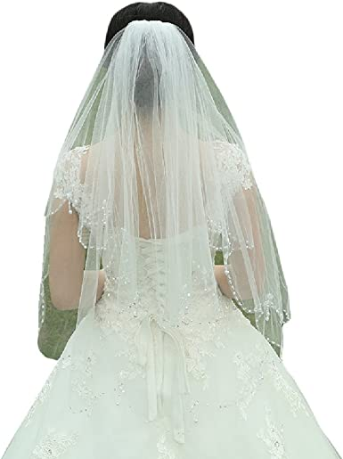 Fast Shipping! Beaded Crystal Ivory Wedding Veil