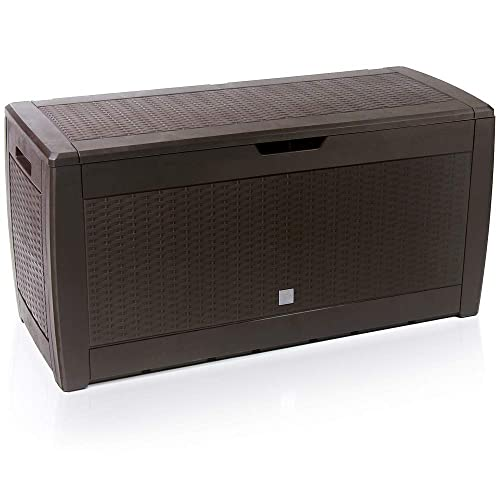 Deuba Outdoor Plastic Storage Box | Garden Utility Chest | Cushion Patio Deck Container | Lid & Wheels | Brown or Black | Model Choice 310L