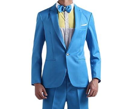 Comfy-Men Pure Color 2pcs Set Stage Clothes Pockets Single Button ...