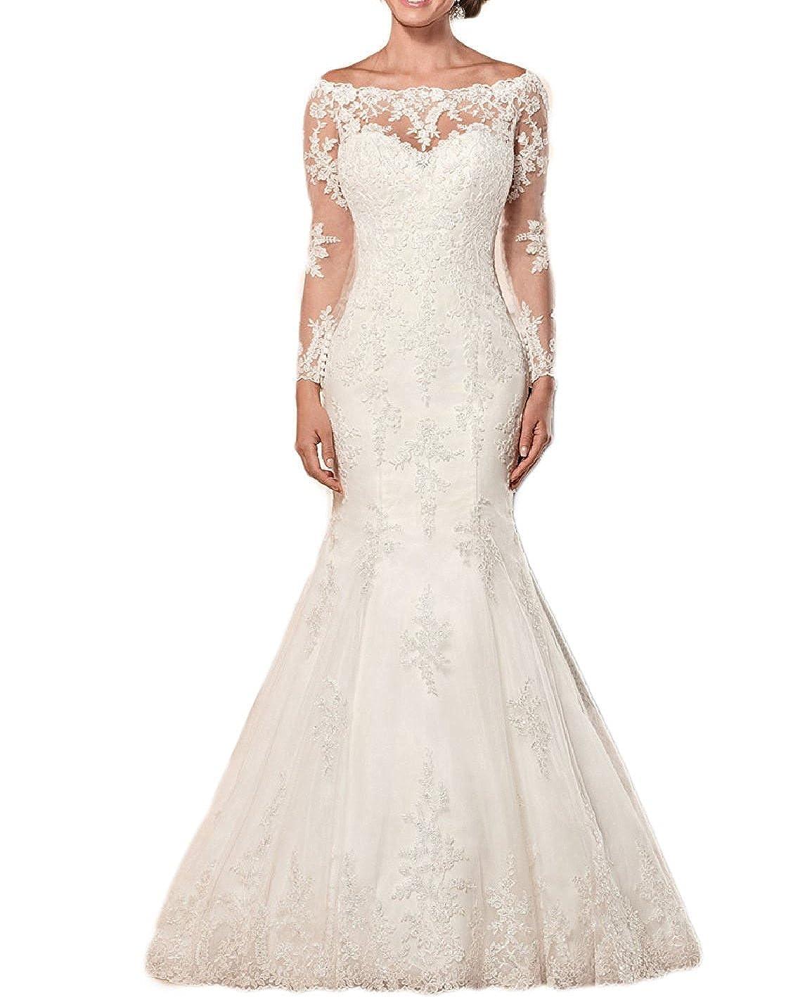 Wendybridal Womens Off Shoulder Lace Mermaid Wedding Bridal Dresses