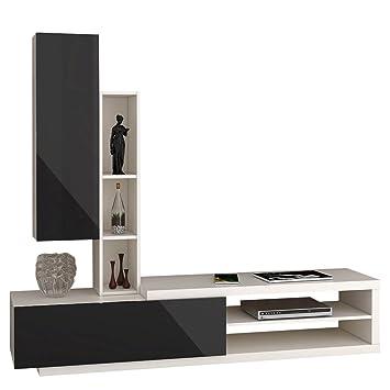 Wohnwand Lumia 3P, Design Mediawand, Modernes Wohnzimmer Set, Anbauwand,  Hängeschrank, Regal