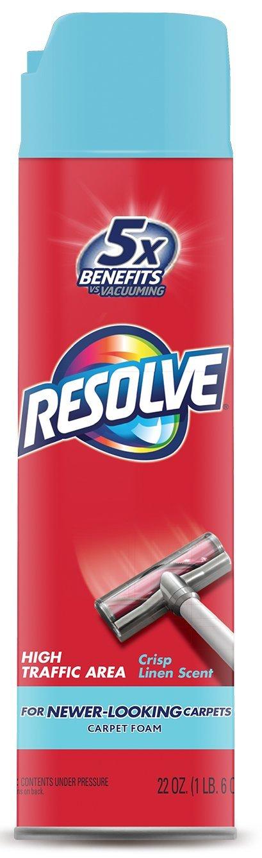 Resolve High Traffic Carpet Foam, Crisp Linen 22 oz Can, Cleans Freshens Softens & Removes Stains (Pack of 12)