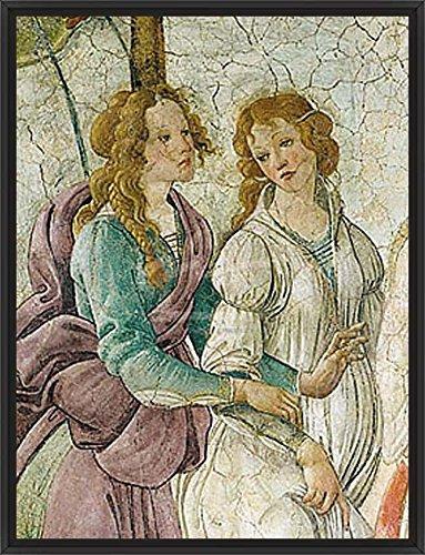 38in x 50in Venus et les Trois Graces (detail) by Sandro Botticelli - Black Floater Framed Canvas w/ BRUSHSTROKES by ArtToCanvas