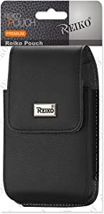 Reiko Wireless Leather Vertical Phone Pouch with Metal Logo for iPhone 6/6S Plus Belt Clip - Black
