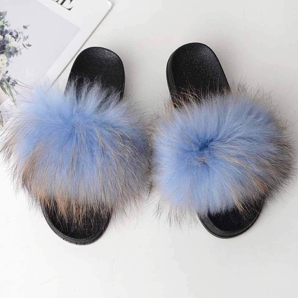 Women Ladies Flat Faux Fur Fluffy Sliders Slippers Comfy Sandals Flip Flop Shoes