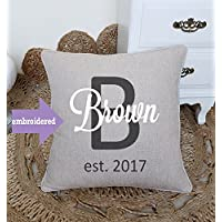 DecorHouzz Personalized Last Name With date, home decor, wedding gift, engagement present, housewarming, Embroidered cushion cover, throw pillow