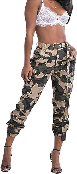 Floerns Womens Pockets Outdoor Jogger Pants Camo Cargo Pants