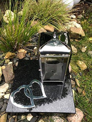 Or Grablaterne und Zwei Herzen aus Edelstahl inklusive Granitsockel 25cm x 25cm x 5cm Schwarz Lampe mit Sockel und Relief Her
