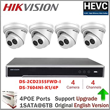 Hikvision 5MP IP POE System 4 Channel DS-7604NI-K1//4P NVR CCTV Dome Camera Kit