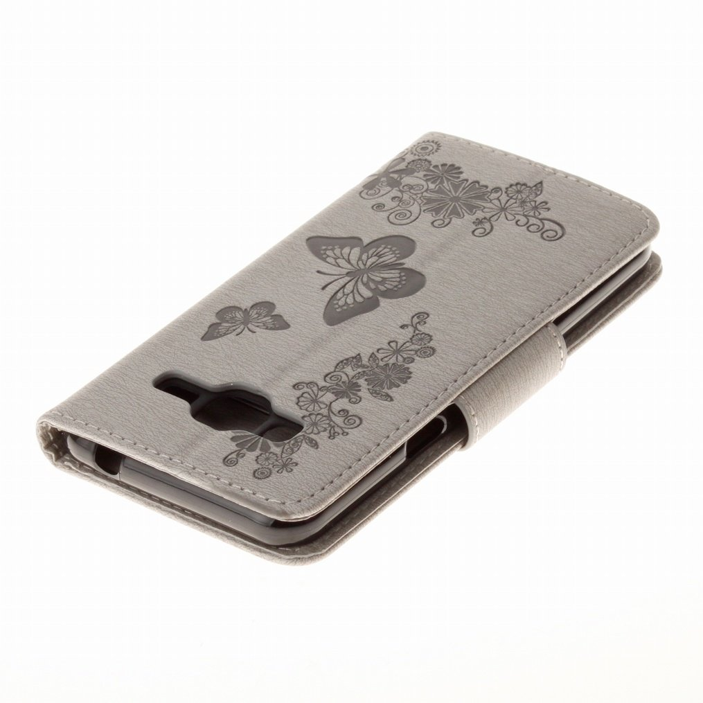 LEMORRY para Samsung Galaxy J3 Funda Estuches Cuero Flip Billetera Piel Protector Magn/ética TPU Silicona Carcasa Tapa para Galaxy J3 2016 J320F 2016 Mariposa Suerte Marr/ón