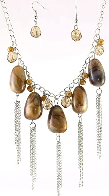 857bffbbb2909 Amazon.com: Brown-beige Simulated Marble, Faux Pearl Beads, Chain ...