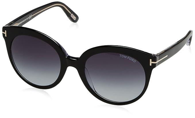 4098c2ef2e9 Tom Ford 429 03W Black Monica Round Sunglasses Lens Category 3 Size ...