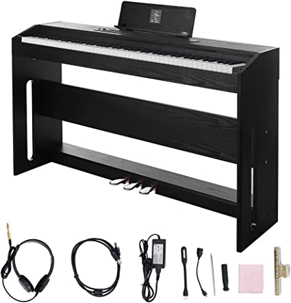 Digital Piano,88 Weighted Key Electric Piano Portable for Beginner Adults with 3 Pedal Board,Music Stand,Power Adapter Headphone,Instruction Book Black