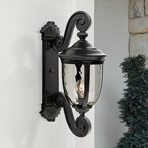 Bellagio Outdoor Wall Light Fixture Texturized Black Dual Scroll Arm 24