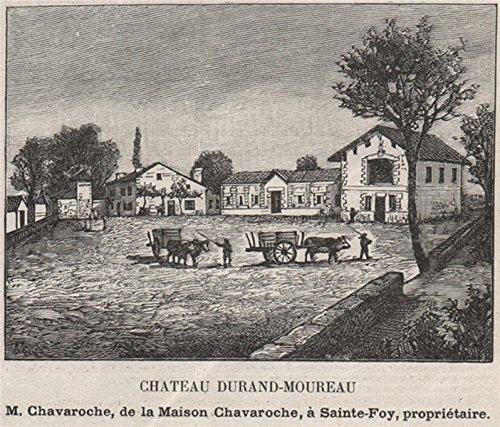 SAINT-ÉMILIONNAIS. PUISSEGUIN. Chateau Durand-Moureau. Chavaroche. SMALL - 1908 - old print - antique print - vintage print - Gironde art - Durand Antique
