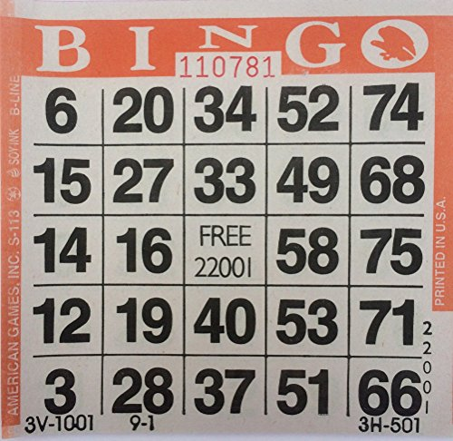 1 on (Single)Orange Bingo Paper Cards - 500 cards per - Orange Bingo
