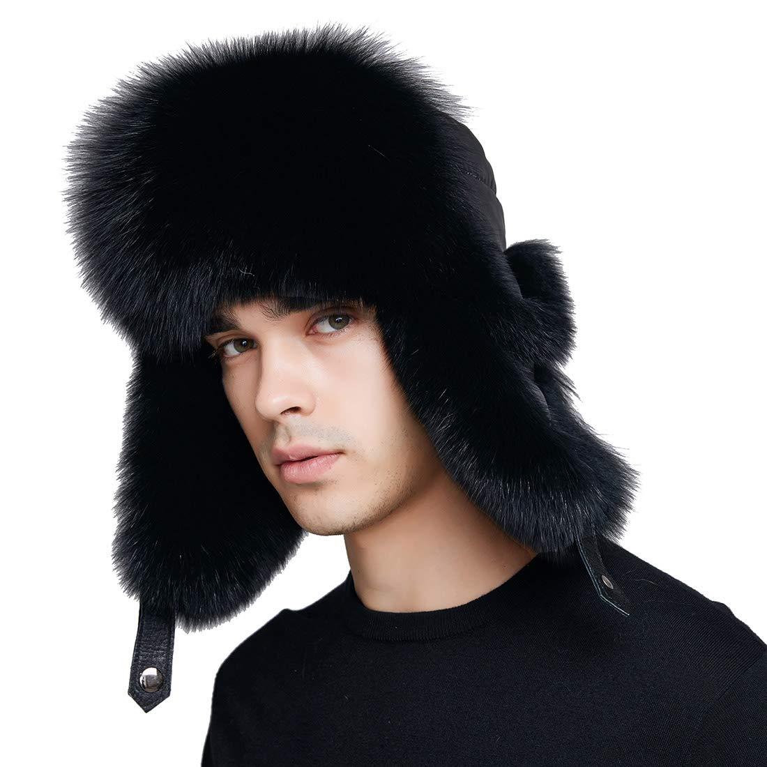 39623fc39 BeFur Winter Men Real Fox Fur Hat Genuine Leather Russia Aviator ...