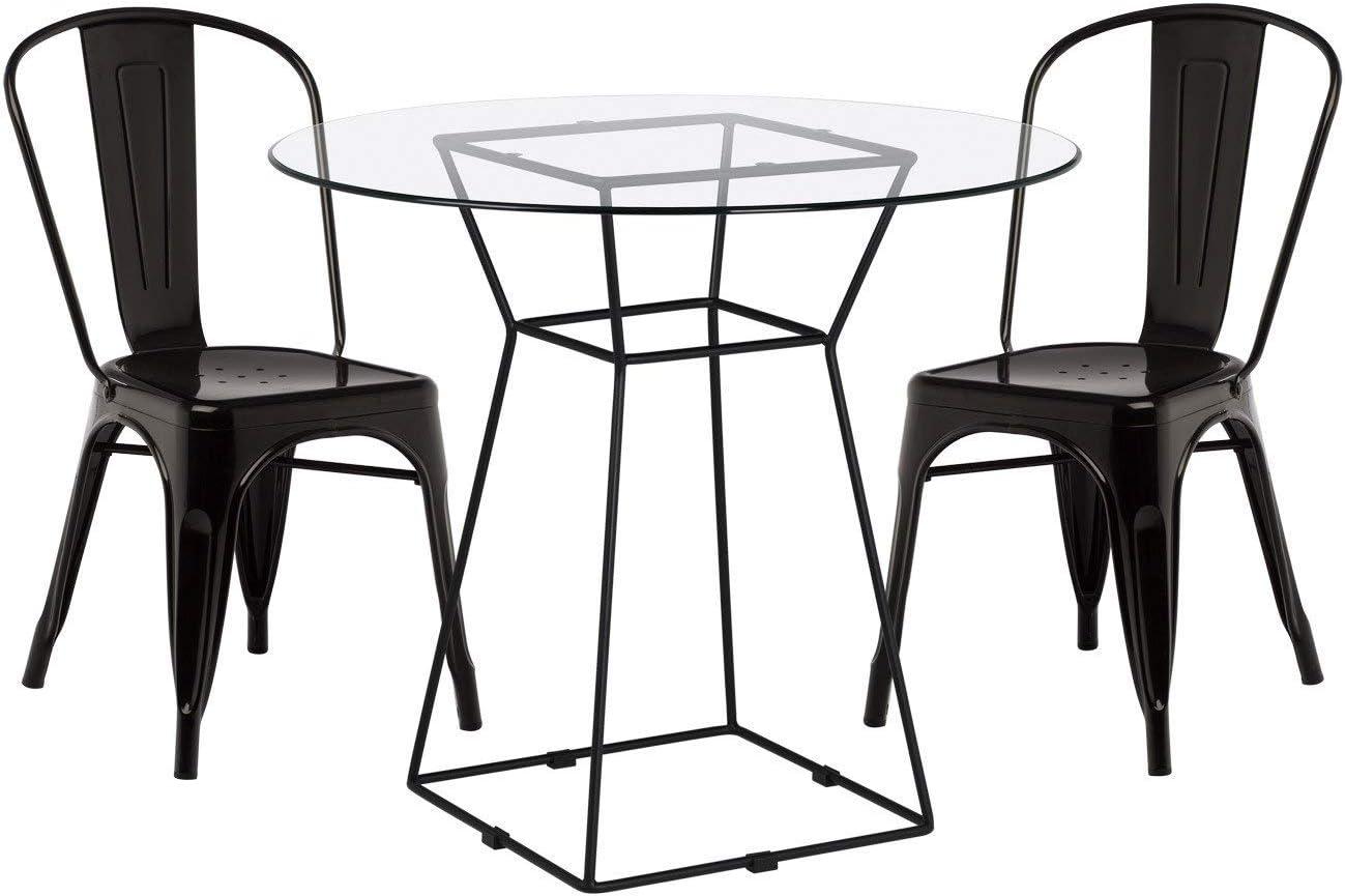 SKLUM Pack Mesa Agda & 2 Sillas LIX Acero - Cristal Negro - (Elige Color): Amazon.es: Hogar