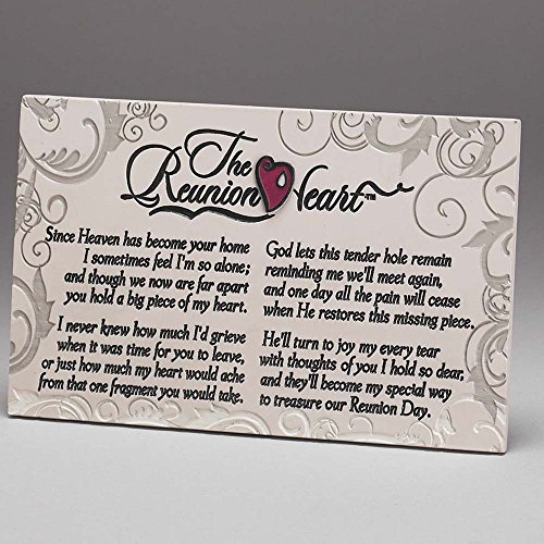 Dicksons Reunion Heart Filigree 6 x 8.5 Resin Stone Table Top Sign Plaque Decoration ()