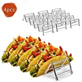 4 pack Stainless Steel Taco Holder, Haneye Taco Stand Rack, Metal Mexican Taco Shells Serving Tray, Taco Truck Tray Style, Safe for Baking or Reheating
