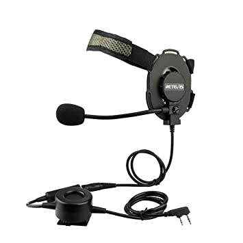 Retevis EH060K Militar Auricular Táctico Pinganillo 2 Pin Walkie Talkie Auricular Compatible con Retevis RT24 RT27 RT22 RT5R Baofeng BF-888S UV-5R ...