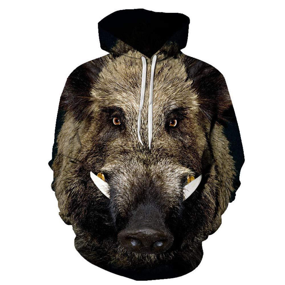 GEFANENR Pullover Unisex,M/änner Frauen Liebhaber Digitaler 3D-Drucken Wildschwein Langarm Kapuzenpullover Mode Kapuzen-Sweatshirt Jacke Pullover Shirt Wild Neuheit Hoodie