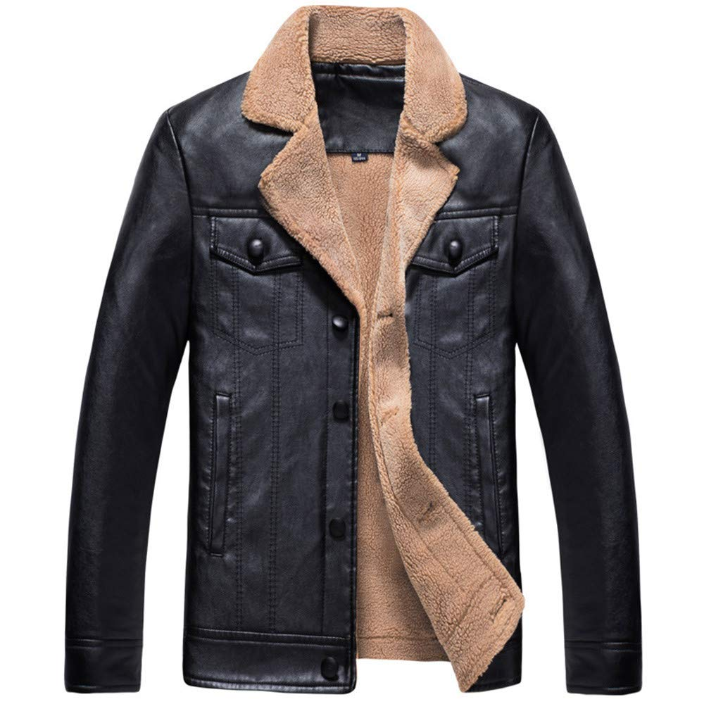 Hatoys Mens Button Thermal Leather Jacket Top Coat Overcoat ...
