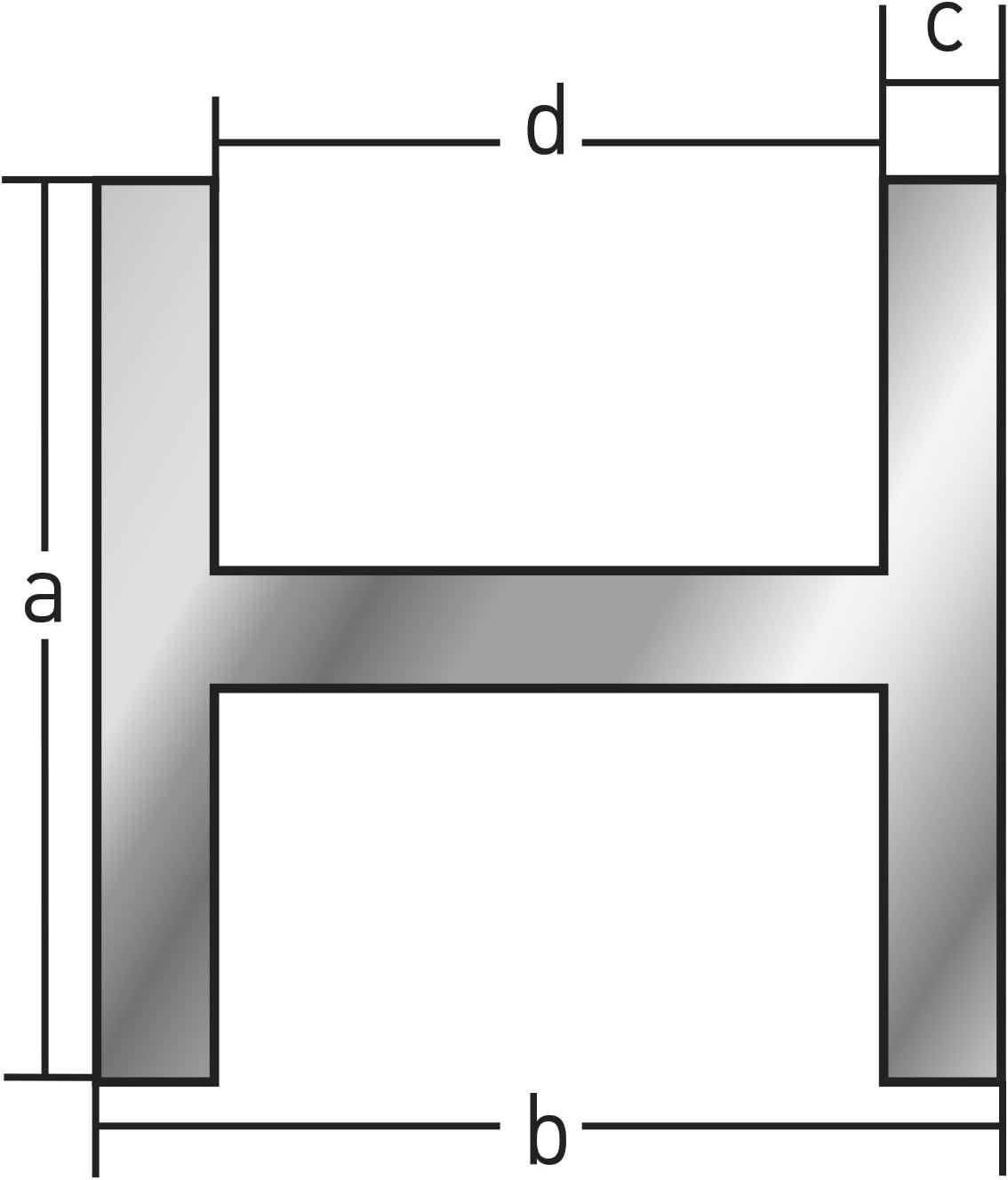 4 millimetri x 1.000 LANGLITZ Metalle Alluminio anodizzato Alluminio hProfile Profilo per dimensioni interne 4 Innen 6 mm 516 mm 20x9x1,5