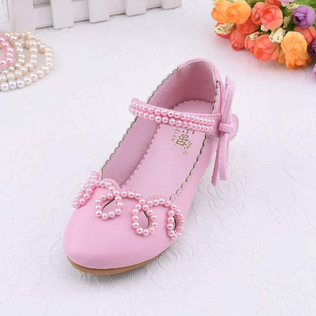 Sharemen Toddler Kids Girls Pearl Square Heel Leather Shoes Single Princess Shoes Sandals